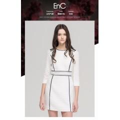 ENC品牌女装秋季时尚简约拼接修身通勤七分袖连衣裙女