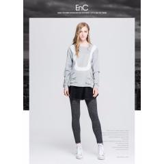 ENC秋冬休闲宽松卡通印花时尚圆领套头长袖针织衫女