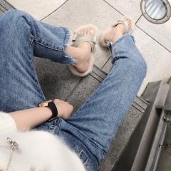 韩版港味显瘦学生chic高腰做旧九分裤毛须边牛仔裤子女